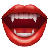 Vampire mouth with open lips. Stock Image