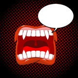 Vampire mouth style pop art. Bubble for text. Red lips with fang Royalty Free Stock Photos