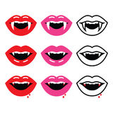 Vampire mouth, vampire teeth  icons set Stock Images
