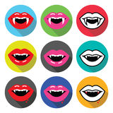 Vampire mouth, vampire teeth vector flat design icons set Stock Images