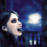 Vampire on night balcony. Illustration of a 3d vampire girl on balcony at night time Royalty Free Stock Photos