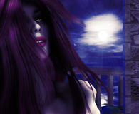 Vampire on night balcony Royalty Free Stock Photo