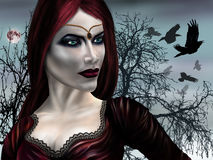 Vampire Princess. Illustration of a gothic vampire on a misty night Royalty Free Stock Photos