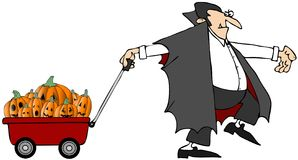 Vampire Pulling Pumpkins. This illustration depicts a vampire pulling a wagon full of carved pumpkins Royalty Free Stock Images