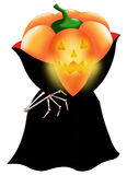 Vampire pumpkin. Color illustration of a halloween pumpkin vampire Royalty Free Stock Images