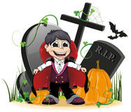 Vampire and pumpkins on the cemetery Stock Image