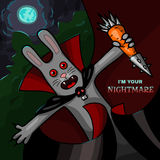 Vampire rabbit with steel carrot - Halloween character Stock Photos