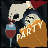 Vampire with Scary drink in a Fantastic Halloween Party Poster Royalty Free Stock Photo