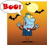 Vampire screaming boo under bats on orange Stock Image