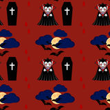 Vampire seamless pattern 2. Vampire man cartoon character in a predatory pose with coffin and flying bats in the sky stock illustration