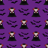 Vampire seamless pattern. Vampire man cartoon character in a predatory pose with flying bats Royalty Free Stock Photography