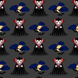 Vampire seamless pattern 3. Vampire man cartoon character in a predatory pose with flying bats in the sky royalty free illustration