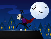 Vampire sneaking up on the roof. Cartoon vampire sneaking up on the roof. Vector eps 10 Royalty Free Stock Photo