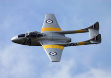 Vampire T11 jet. A single engined jet airplane Royalty Free Stock Images