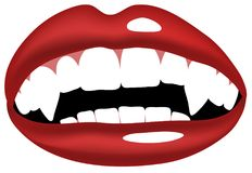 Vampire teeth mouth illustration. Vector illustration of vampire, smiling mouth with vampire teeth Royalty Free Stock Photography