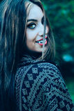 Vampire woman. Beautiful vampire woman turning head back looking at you Royalty Free Stock Images