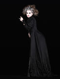 Vampire woman with black gothic costume halloween Stock Images