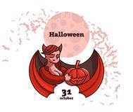 A vampire woman is holding a pumpkin. stock illustration