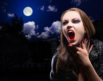 Vampire woman on night background. With moon Stock Images