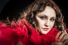 Vampire woman with red dress Stock Image