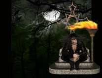 Vampire in the Woods Background. This male vampire sitting on his throne with a firey torch behind him. He is sitting out in the moonlite woods. A dark feel for vector illustration