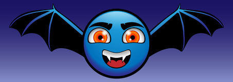 VAMPIRE. Yellow emoticon turned into a blue vampire Dracula Royalty Free Stock Images