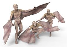 Vampires 3D Illustration. Vampires Strigoi 3D Illustration Isolated on White Stock Images