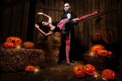 Vampires with halloween pumpkin Royalty Free Stock Photo