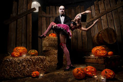 Vampires with halloween pumpkin Stock Photos