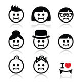 Vampires - man, woman, baby faces Halloween icons set Stock Photo