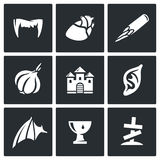 Vampires and means against them icons set. Vector Illustration. Royalty Free Stock Photo