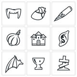 Vampires and means against them icons set. Vector Illustration. Royalty Free Stock Photos