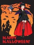 Vampirmädchen mit einem Hieb lizenzfreie abbildung