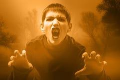 Vampiro adolescente en el bosque brumoso Foto de archivo