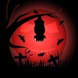 Vampiro che appende pipistrello capovolto nell'ambito della luce della luna illustrazione vettoriale
