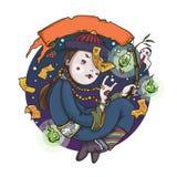 Vampiro chinês Ghost da lupulagem para Dia das Bruxas ilustração do vetor