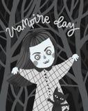 Vampiro da menina com um gato ilustração stock