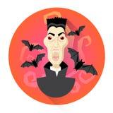 Vampiro di Dracula con l'icona di festa di Halloween dei pipistrelli illustrazione vettoriale
