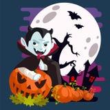 Vampiro di Dracula dietro le zucche royalty illustrazione gratis