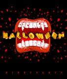 Vampiro di Halloween che grida bocca del goul con i denti taglienti Posta Fotografie Stock Libere da Diritti