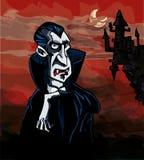 Vampiro dos desenhos animados com um castelo no fundo ilustração do vetor