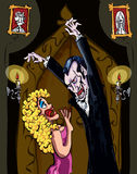 Vampiro dos desenhos animados que ameaça uma mulher loura ilustração do vetor