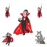Vampiro e lobo de Dia das Bruxas ilustração royalty free