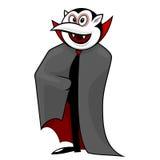 Vampiro engraçado dos desenhos animados com lua Fotografia de Stock Royalty Free