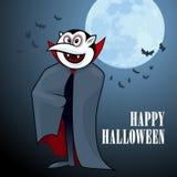 Vampiro engraçado dos desenhos animados com lua Imagem de Stock Royalty Free