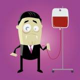 Vampiro engraçado dos desenhos animados com sangue da conserva Foto de Stock