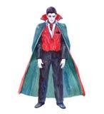 Vampiro mítico místico del carácter del solo carácter de la acuarela aislado stock de ilustración
