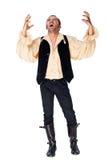 Vampiro masculino braços levantados que rujem Imagens de Stock Royalty Free
