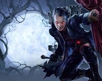 Vampiro masculino hermoso stock de ilustración