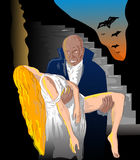 Vampiro nero del Dracula con la vittima illustrazione vettoriale